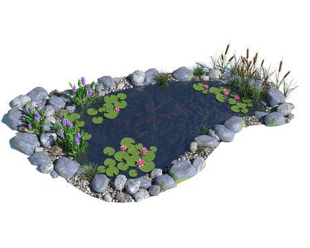 3d illustration of a pond