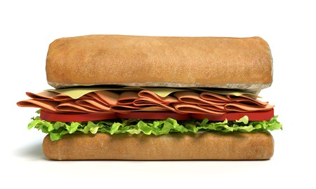 3d illustration of a sub sandwich half Imagens