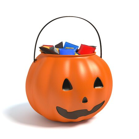 3d illustration of a Halloween candy bucket Imagens