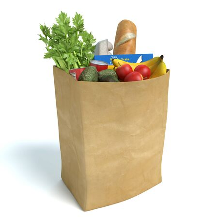 bannana: 3d illustration of a bag of groceries Stock Photo
