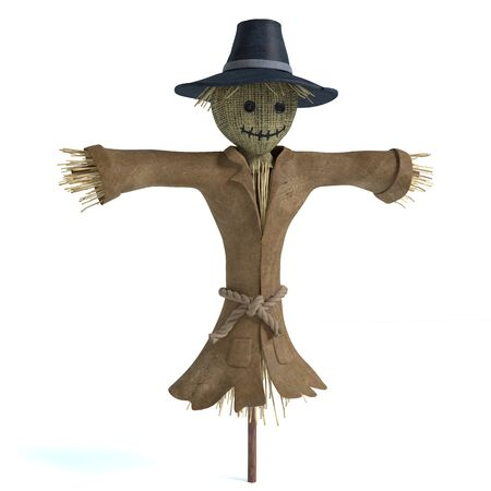 3d illustration of a scarecrow 免版税图像