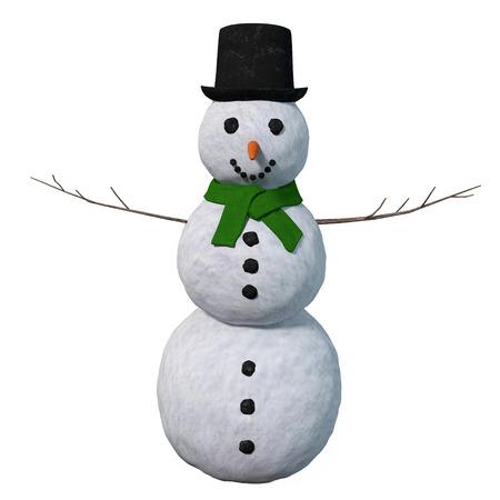 3d illustration of a snowman Imagens