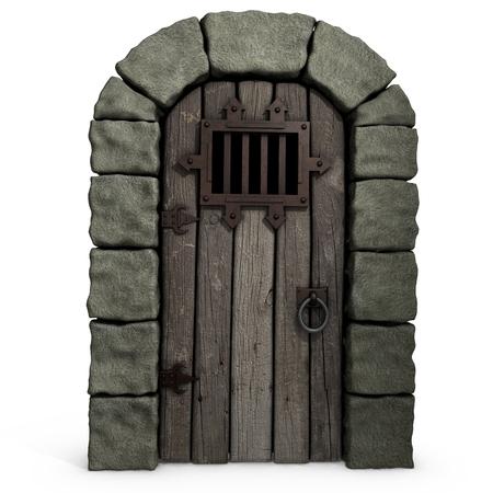 dungeon: 3d illustration of a castle door