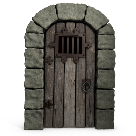 3d illustration of a castle door