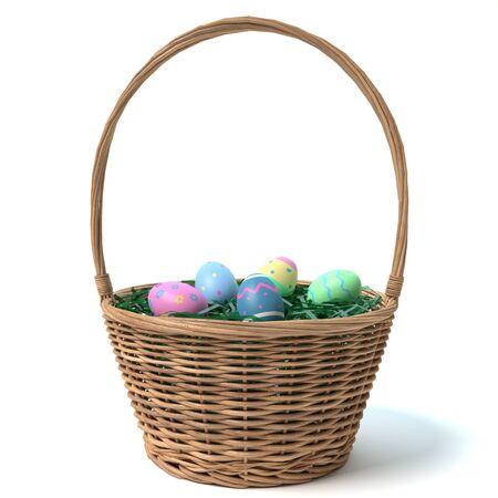 3d illustration of an Easter basket Imagens