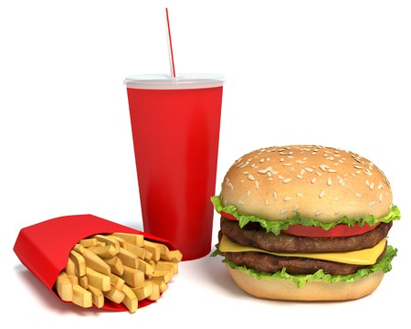 3d illustration of a burger, fries and drink