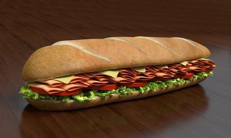 3d illustration of a submarine sandwich Imagens