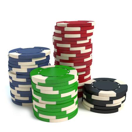 3d illustration of poker chips Imagens