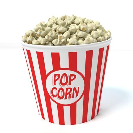 3d illustration of a bucket of popcorn