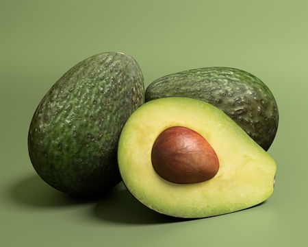 avocados: 3d illustration of avocados Stock Photo