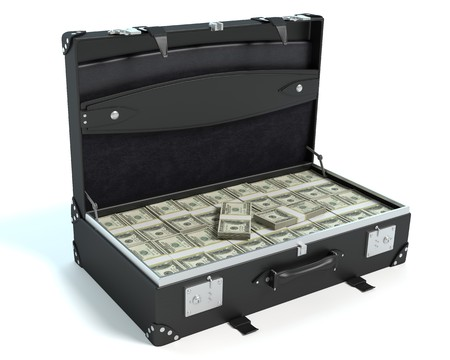 3d illustration of a briefcase of money