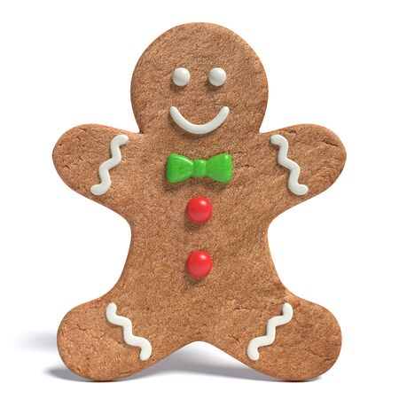 3d illustration of a gingerbread man Stock Photo