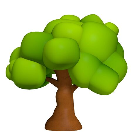broadleaf: 3d illustration of a cartoon tree