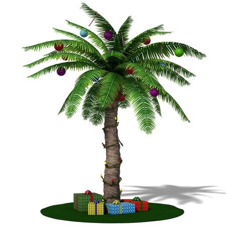 christmas light bulbs: 3d illustration of a Christmas palm tree Stock Photo