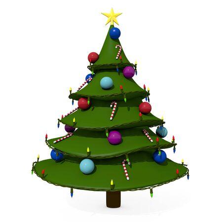 christmas tree illustration: 3d illustration of a cartoon Christmas tree