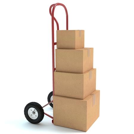 ハンド トラック、ボックスの 3 d イラストレーション 写真素材