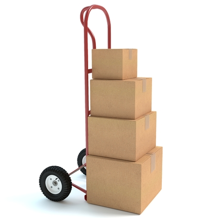 3d illustration of a hand truck and boxes