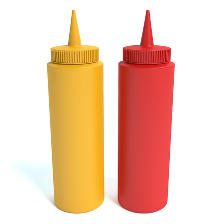 tomato catsup: 3d illustration of mustard and ketchup
