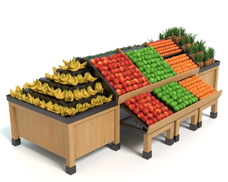 3d illustration of a produce display table