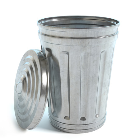 3d illustration of a trash can
