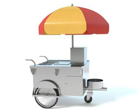 hot dog: 3d illustration of a hot dog cart