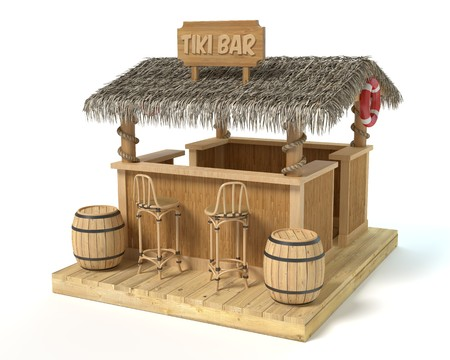 3d illustration of a tiki bar