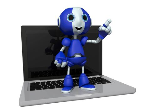 bot: 3d illustration of a robot on a computer