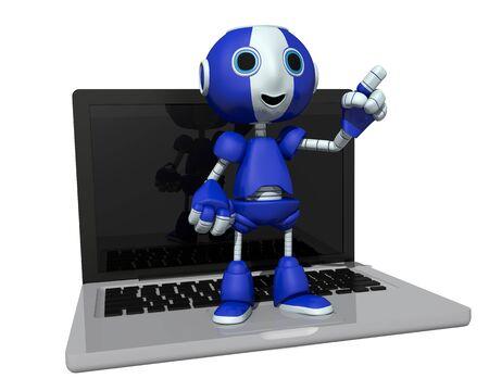 3d illustrazione di un robot su un computer Archivio Fotografico - 57872191