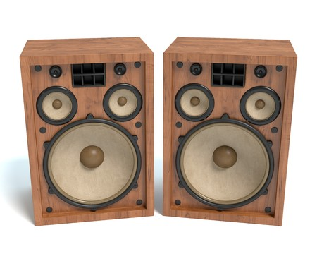 3d illustration of old speakers