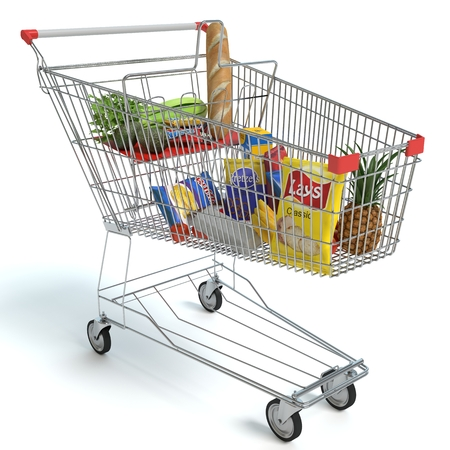 3d illustration of a shopping cart of food 免版税图像
