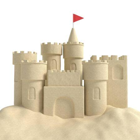 砂の城の 3 d イラストレーション