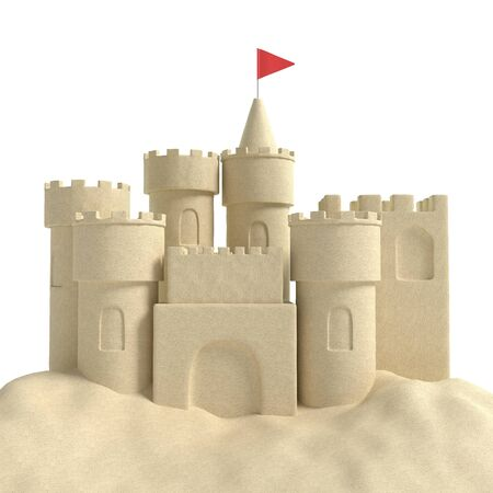 3d illustration of a sandcastle