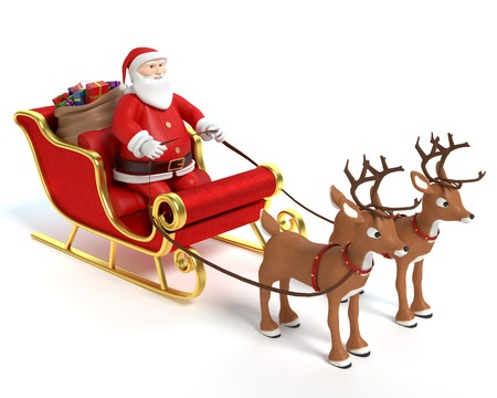 3d illustration of a cartoon Santa sleigh and reindeer 免版税图像