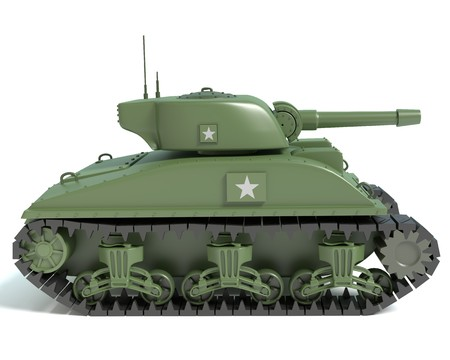 world war two: 3d illustration of a cartoon Sherman tank