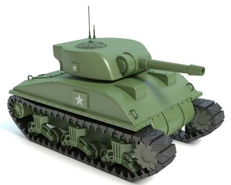 3d illustration of a Cartoon Sherman Tank