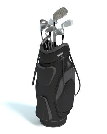 ゴルフのキャディ バッグとクラブの 3 d イラストレーション 写真素材