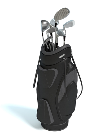 3d illustration of a golf bag and clubs