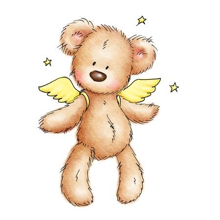 oso caricatura: oso de peluche con alas y estrellas sobre fondo blanco Foto de archivo