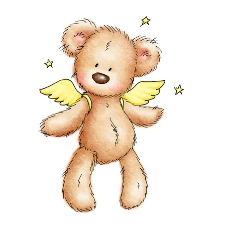 angel white: teddy bear with wings and stars  on white background