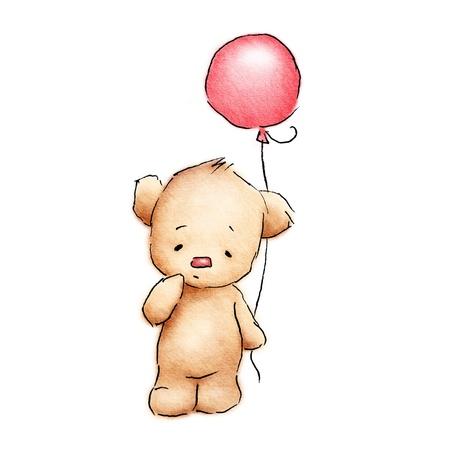 흰색 배경에 빨간색 풍선과 함께 귀여운 아기 곰 스톡 콘텐츠