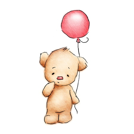 cute baby bear with red balloon on white background photo