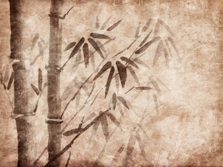 treelike: Bamboo Ink Painting on grunge background