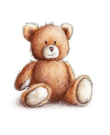 oso: Oso de peluche lindo sobre fondo blanco