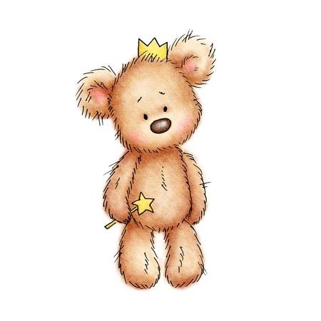 teddybeer in de kroon op een witte achtergrond Stockfoto