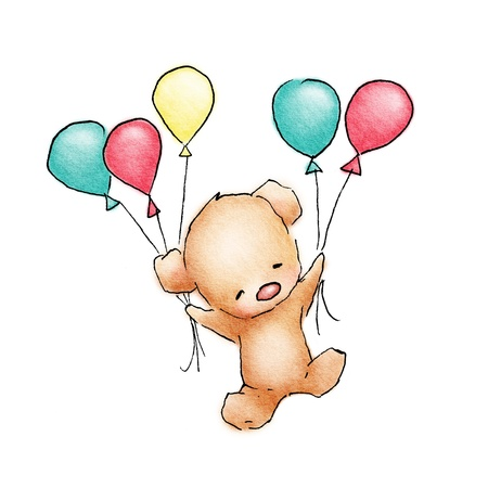 pink teddy bear: Baby Bear flying with colorfull balloons