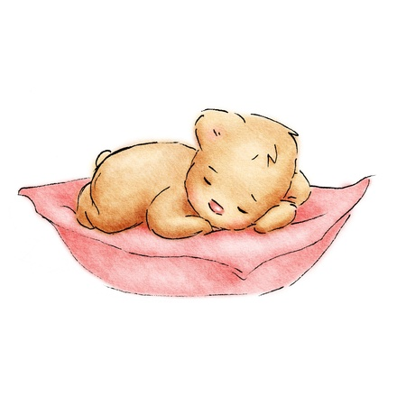 lying on bed: Sleeping Baby Bear
