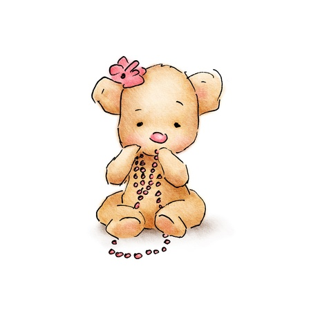 pink teddy bear: cute baby bear with pink beads Stock Photo