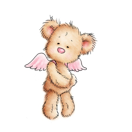 oso caricatura: oso de peluche con alas de color rosa sobre fondo blanco