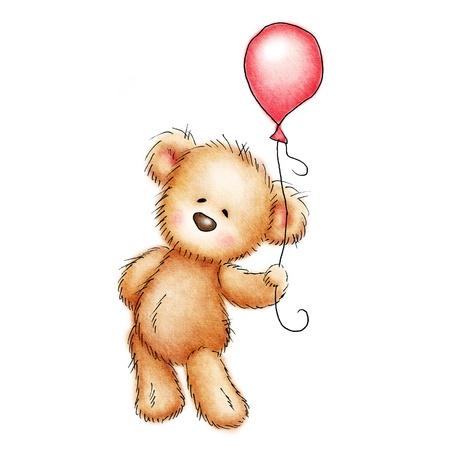teddybeer met rode ballon op een witte achtergrond