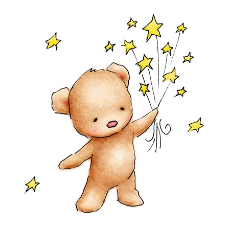 Cute blue teddy bear with stars on white background
